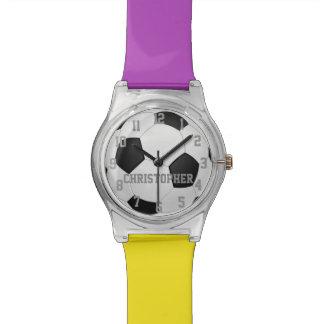 Elija sus colores del equipo, balón de fútbol pers reloj de mano
