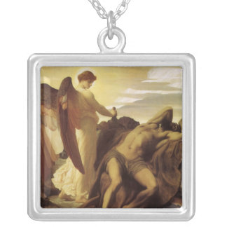 Elijah in Wilderness by Lord Frederic Leighton Silver Plated Necklace