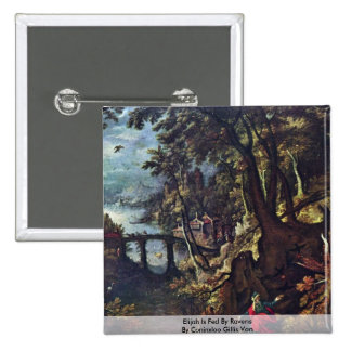 Elijah Is Fed By Ravens By Coninxloo Gillis Van 2 Inch Square Button
