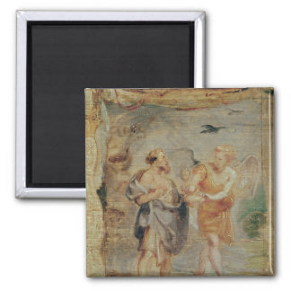Elijah Receiving Bread and Water from an Angel 2 Inch Square Magnet