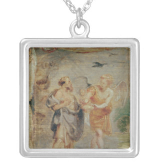 Elijah Receiving Bread and Water from an Angel Silver Plated Necklace