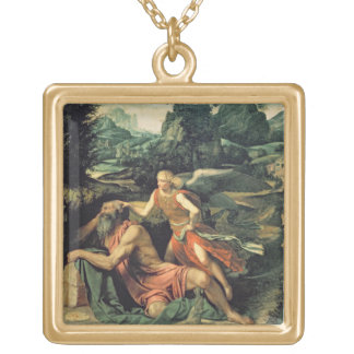 Elijah Visited by an Angel, c.1534 Square Pendant Necklace