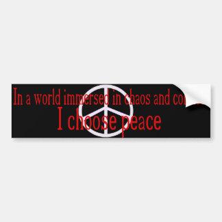 Elijo a la pegatina para el parachoques de la paz  pegatina para auto