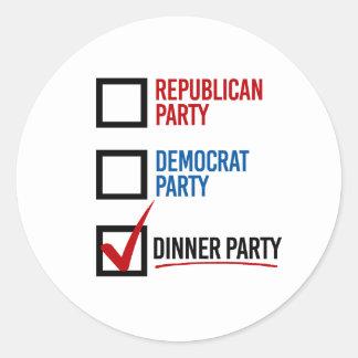 Elijo el fiesta de cena - - pegatina redonda