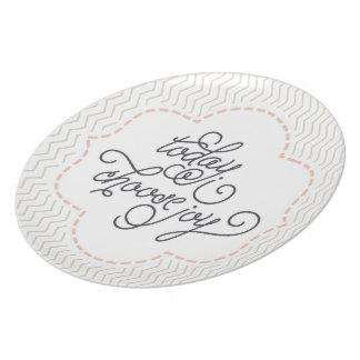 Elijo hoy la placa decorativa de la alegría platos de comidas
