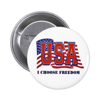 Elijo la bandera americana de la libertad pin redondo de 2 pulgadas