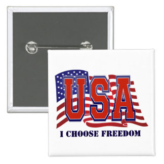 Elijo la libertad patriótica pin cuadrado