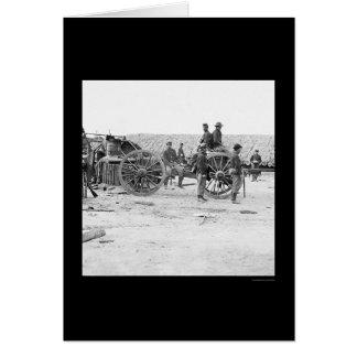 Eliminación de la artillería confederada 1865 tarjeta de felicitación