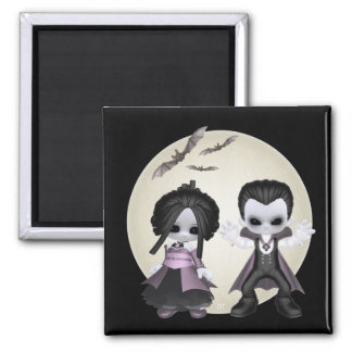 Elisa And Bash Little Gothics 2 Inch Square Magnet