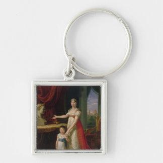 Elisa Bonaparte  Grand Duchess of Tuscany Silver-Colored Square Keychain