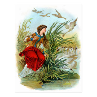 Elisa con la bufanda rosada en los cisnes salvajes postal