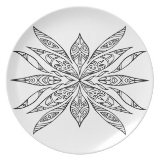 ELISA Hand-Drawn Doodle Flower Dinner Plate