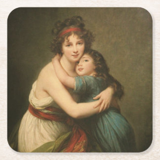Elisabeth with Her Daughter 1780-1819 Square Paper Coaster
