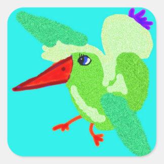 Elise The Fuzzy Bird Square Sticker