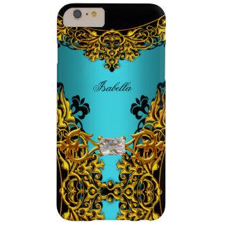 Elite Aqua Teal Blue Gold Black Lace Diamond 2 Barely There iPhone 6 Plus Case
