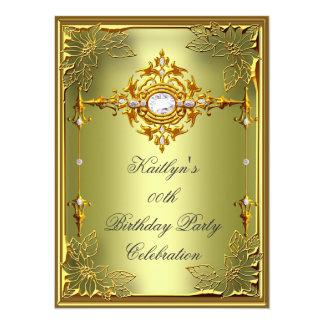Elite Avocado Green Gold Birthday Party 2 5.5x7.5 Paper Invitation Card