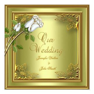Elite Avocado Green Gold Elegant Wedding Rose 5.25x5.25 Square Paper Invitation Card