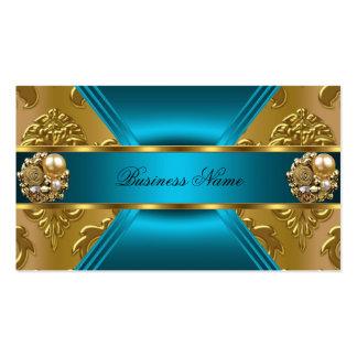 Elite Business Teal Blue Gold Damask Jewel Business Card