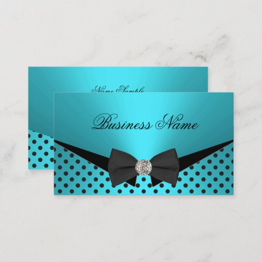 Elite Business Teal Blue Polka Dots Bow Tie Card
