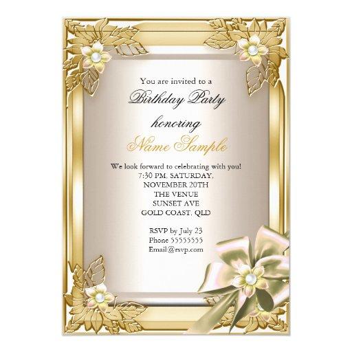 Elite Elegant Birthday Party Gold Cream Bow L Card | Zazzle