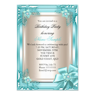 Elite Elegant Birthday Party Teal Cream Bow 2 Card