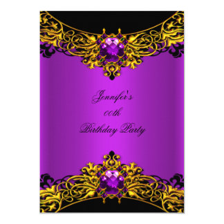 Elite Magenta Gold Black Lace Birthday Party Card