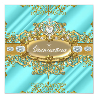 Elite Quinceanera Blue Teal Silver Gold 15th Party Card