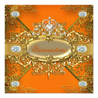 Elite Quinceanera Orange Gold Damask 15th Party Card