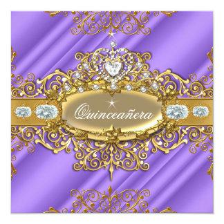Elite Quinceanera Purple Silver Gold 15th Birthday Invitation