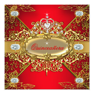 Elite Quinceanera Regal Red Gold Damask 15th Party Card