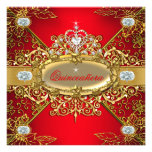 Elite Quinceanera Regal Red Gold Damask 15th Party Custom Invite