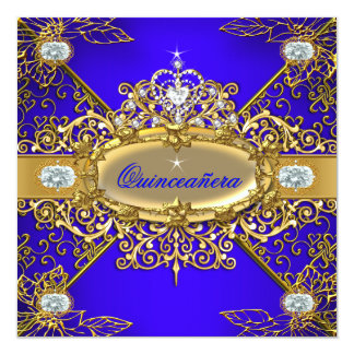 Elite Quinceanera Royal Blue Gold Damask 15th 2 Card