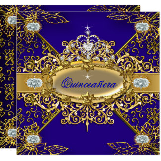 Elite Quinceanera Royal Blue Gold Damask 15th Card