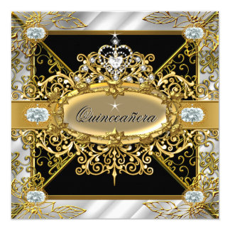 Elite Quinceanera Silver Gold Black Damask 15th Card