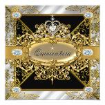 Elite Quinceanera Silver Gold Black Damask 15th Personalized Invites