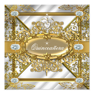 Elite Quinceanera Silver Gold Damask 15th Birthday Card