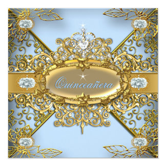 Elite Quinceanera Soft Blue Gold Damask 15th Card