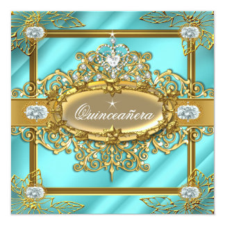 Elite Quinceanera Teal blue Gold Damask 15th Card