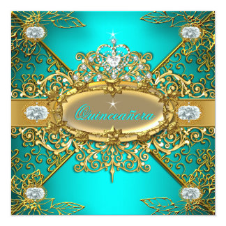 Elite Quinceanera Teal Blue Gold Damask 15th Party Card