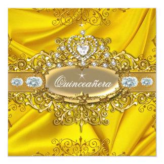 Elite Quinceanera Yellow Silk Silver Gold Party 5.25x5.25 Square Paper Invitation Card