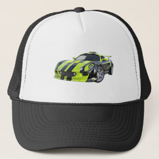 Elite Racing Car in Black and Lime Green Trucker Hat