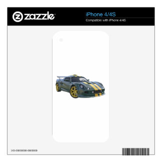 Elite Racing Car in Silver and Gold Decal For The iPhone 4
