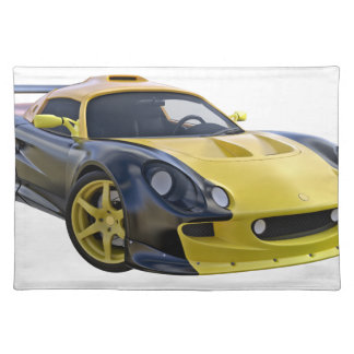 Elite Racing Car with Black and A Yellow Stripe Cloth Placemat