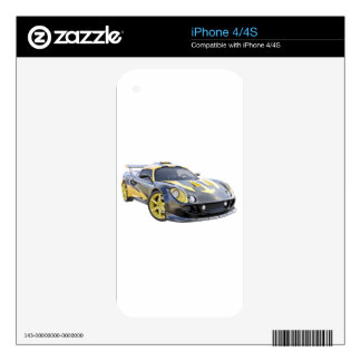 Elite Racing Car with Black and Yellow Arrows Decal For iPhone 4
