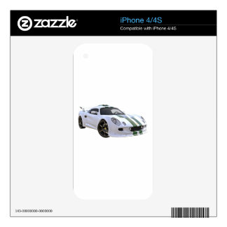 Elite Racing Car with White and Green iPhone 4S Skin