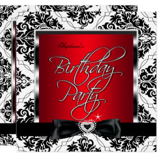 Elite Red Damask Silver Black White Birthday Party Card