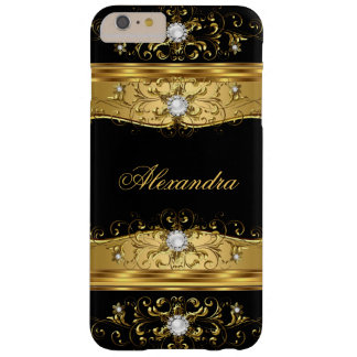Elite Regal faux Gold Black Pearl Diamond Jewel Barely There iPhone 6 Plus Case