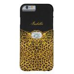 Elite Regal Gold Black Leopard Diamond Jewel 2 Barely There iPhone 6 Case