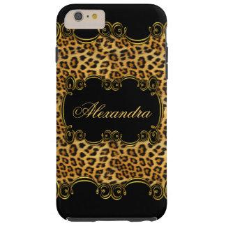 Elite Regal Leopard Gold Black animal print 2 Tough iPhone 6 Plus Case