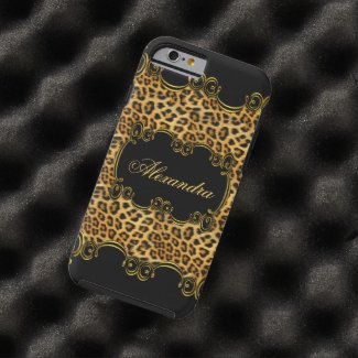 Elite Regal Leopard Gold Black animal print 2 Tough iPhone 6 Case